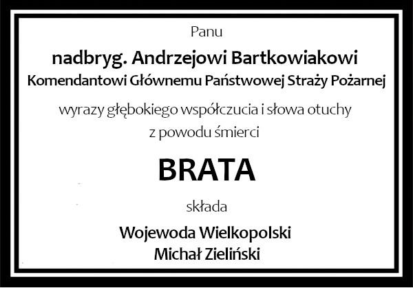 kondolencje Bartkowiak Wojewoda