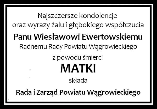 kondolencje Ewertowski
