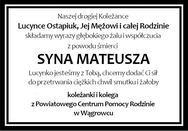 kondolencje Ostapiuk