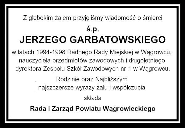 Kondolencje Garbatowski