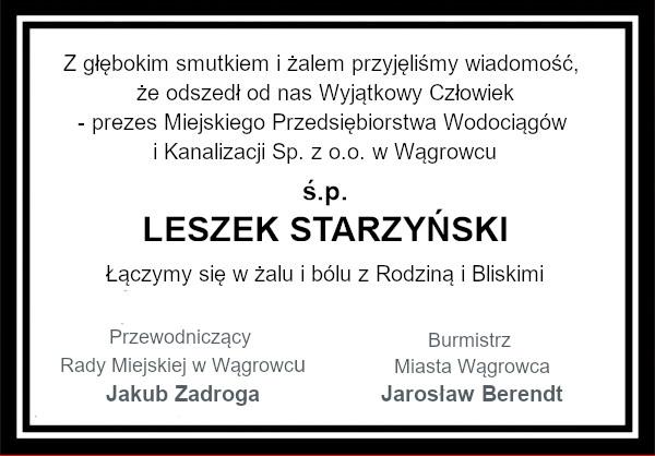 kondolencje Leszek Starzynski